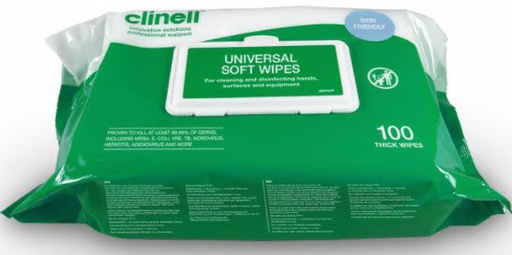 Clinell Universal Soft Wipes lingettes désinfectantes